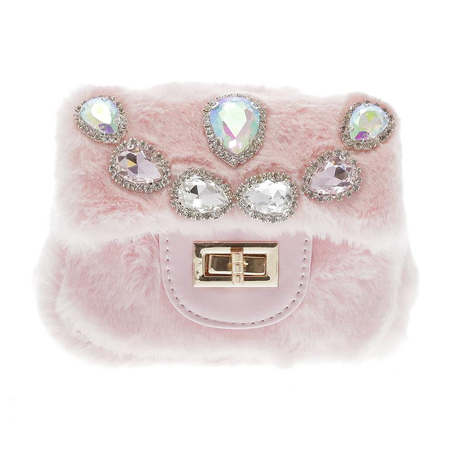 Doe a Dear Mini Faux Fur Cross body w/ Teardrop Jeweled Purse - Doe a Dear
