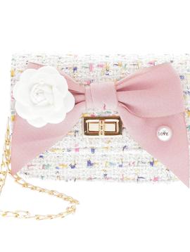Doe a Dear Mini Boucle Bow Front Cross Body Bag - White - Doe a Dear