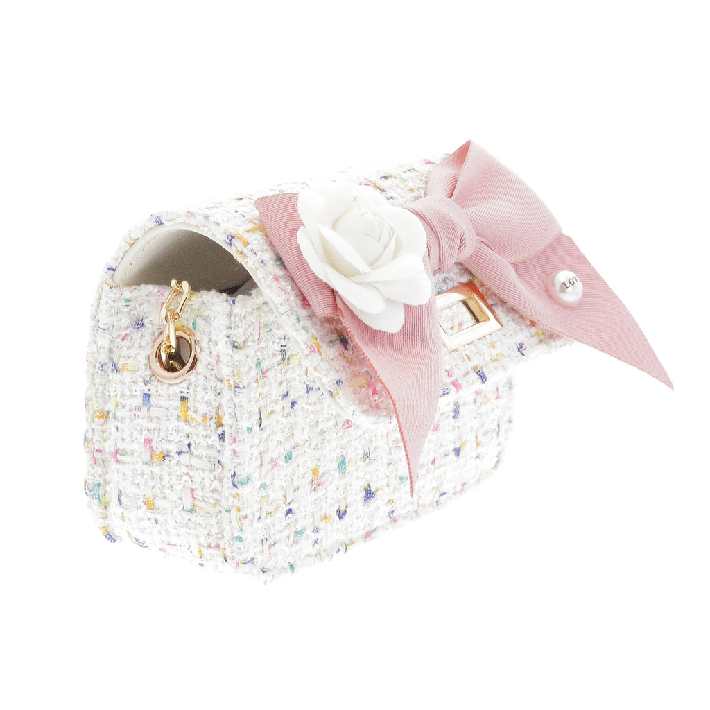 Doe a Dear Mini Boucle Bow Front Cross Body Bag - White - Doe a Dear