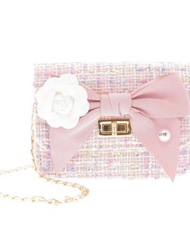 Doe a Dear Mini Boucle Bow Front Cross Body Bag - Pink - Doe a Dear