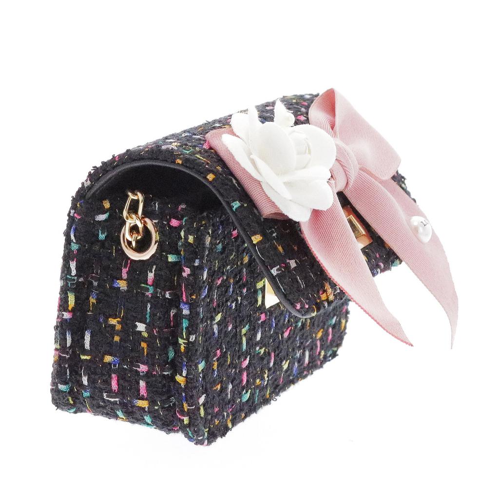Doe a Dear Mini Boucle Bow Front Cross Body Bag - Black - Doe a Dear