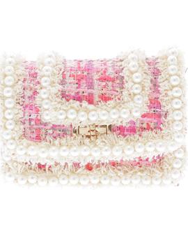 Doe a Dear Tweed Crossbody Bag with Pearl - Pink - Doe a Dear