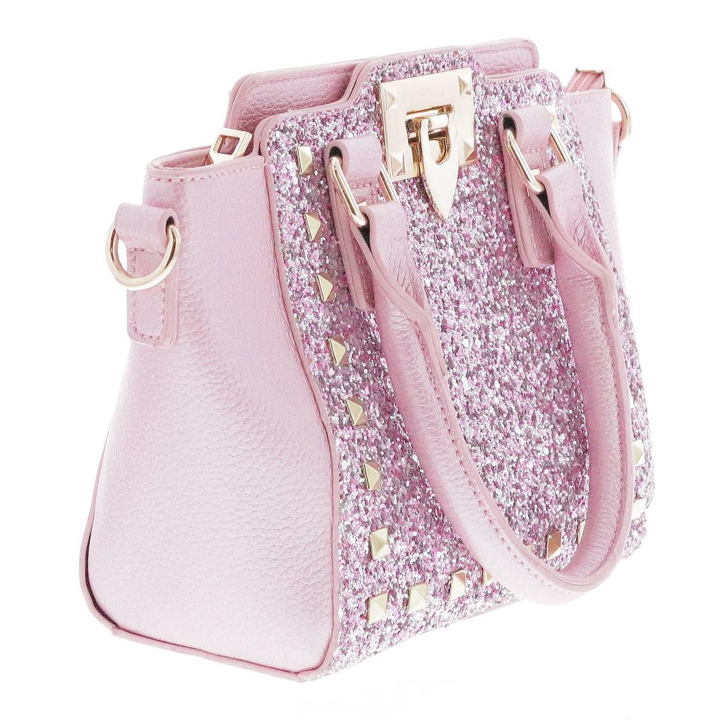Doe a Dear Glitter Pyramid Stud Purse - Pink - Doe a Dear