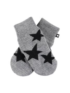 molo Snowfall Grey Star Mittens - Molo Outerwear