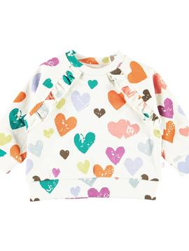 molo Dayna Sweatshirt - Rainbow Hearts - Molo