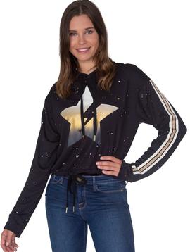 Global Love Black Crop Hoodie w Metallic Star - Global Love Clothing