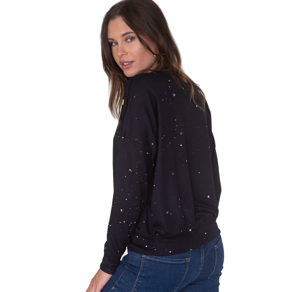 Global Love Black Crop Sweatshirt w Metallic Stars - Global Love Clothing
