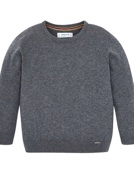 Mayoral Dark Grey Cotton Knit Sweater - Mayoral