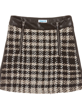 Mayoral Tweed w Leather Skirt - Mayoral