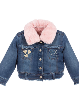 Mayoral Baby Denim Jacket w Pink Fur - Mayoral