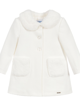 Mayoral Ivory Coat w Fur - Mayoral