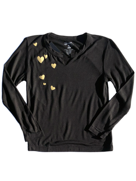 Flowers by Zoe Black Top w Hearts - Flowers By Zoe
