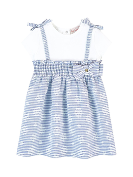 Lili Gaufrette Blue Poplin Bow Dress - Lili Gaufrette