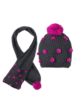 3pommes Clothing Pom pom Hat with Scarf - 3pommes