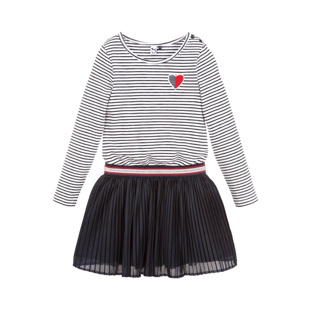 3pommes Clothing Navy Stripe Dress w Heart - 3Pommes