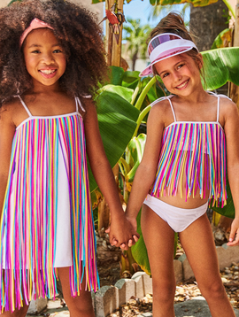 Little Peixoto Little Peixoto - Fringy Bikini - Rainbow Fringe
