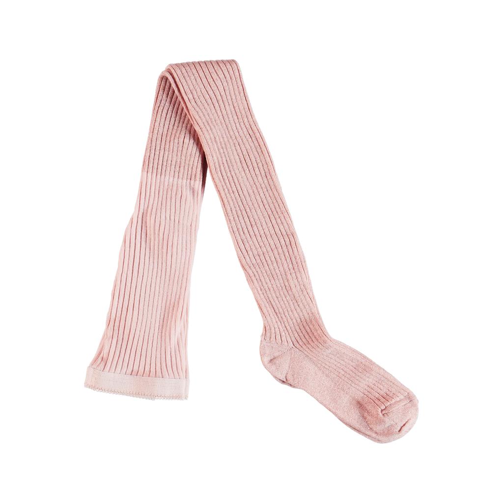 molo Molo Kids Glitter Tights - Ribbed Pink