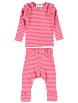 molo Molo Baby Girl Ruffle Stripe Set - Pink