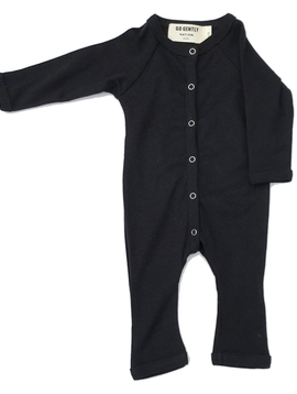 Go Gently Nation Go Gently Baby Black Solid Romper