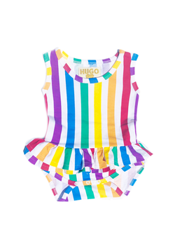 Hugo Loves Tiki Hugo Loves Tiki Ruffle Onesie Rainbow Stripe