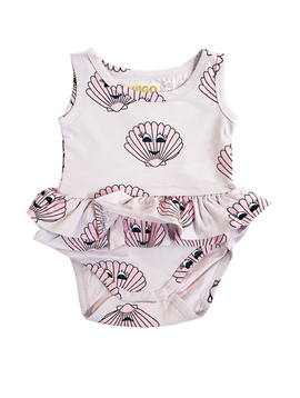 Hugo Loves Tiki Hugo Loves Tiki Ruffled Onesie Pink Seashells