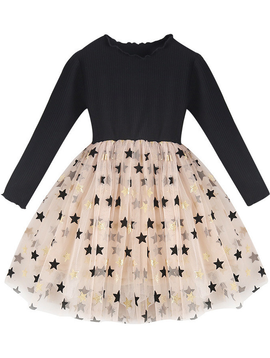 Survolte Star Ribbed Tulle Dress Long Sleeve