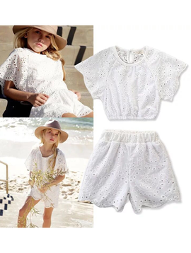 Survolte Designer Kids White Eyelet Short Set