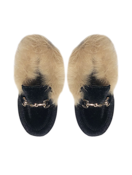 Survolte Designer Kids Black Velvet Loafers Fur Trim