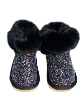 Survolte Designer Kids Black Glitter Fur Boots