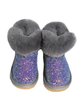Survolte Designer Kids Grey Glitter Fur Boots