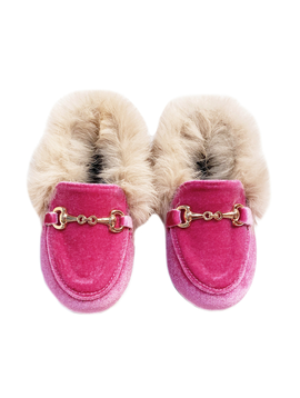 Survolte Designer Kids Pink Velvet Loafers Fur Trim