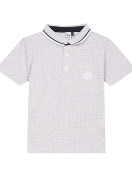3pommes Clothing 3pommes Boys Polo Shirt Grey Navy Dot