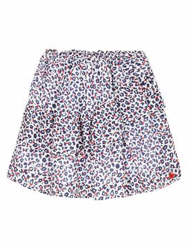 3pommes Clothing 3pommes Girls Blue Leopard Ruffle Skirt