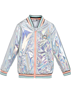 3pommes Clothing 3pommes Girls Silver Hologram Bomber Jacket