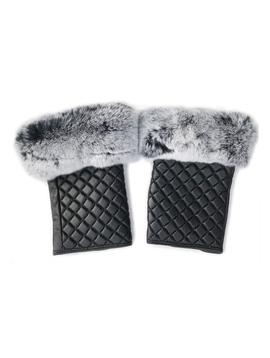Sugar Bear Rabbit Fur Fingerless Gloves