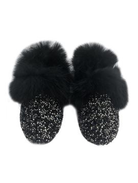 Sugar Bear Black Crystal Loafers Fur Trim