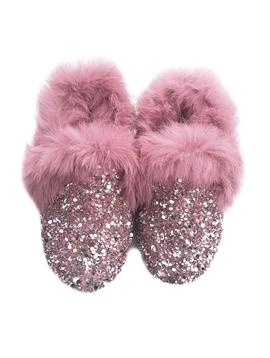 Sugar Bear Pink Crystal Loafers Fur Trim