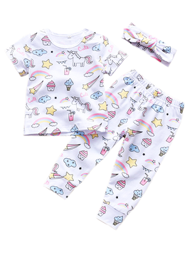 Sugar Bear Unicorn Print Set w Headband