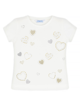 Mayoral Mayoral Girls White Top Hearts