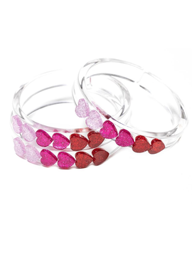 Lilies and Roses Hearts Bangle Bracelet - Lilies and Roses