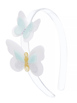 Lilies and Roses Headband - Crystal Mint Butterfly - Lilies and Roses