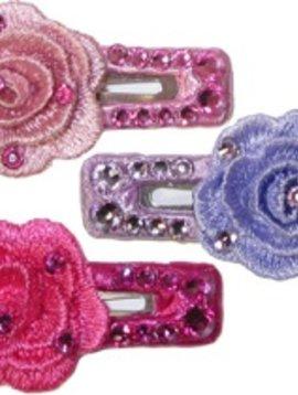 Survolte Small Rectangle Rhinestone Clip - Crochet Flower