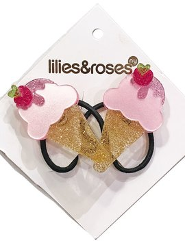 Lilies and Roses Ponytail - Ice Cream Satin