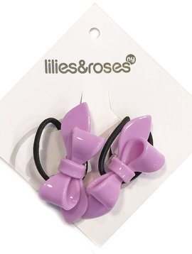 Lilies and Roses Ponytail - Bows - Purple