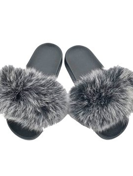 Sugar Bear Grey Black Fox Fur Slides