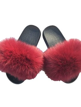 Sugar Bear Currant Fox Fur Slides