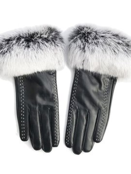 Sugar Bear Rabbit Fur Gloves w Stitching