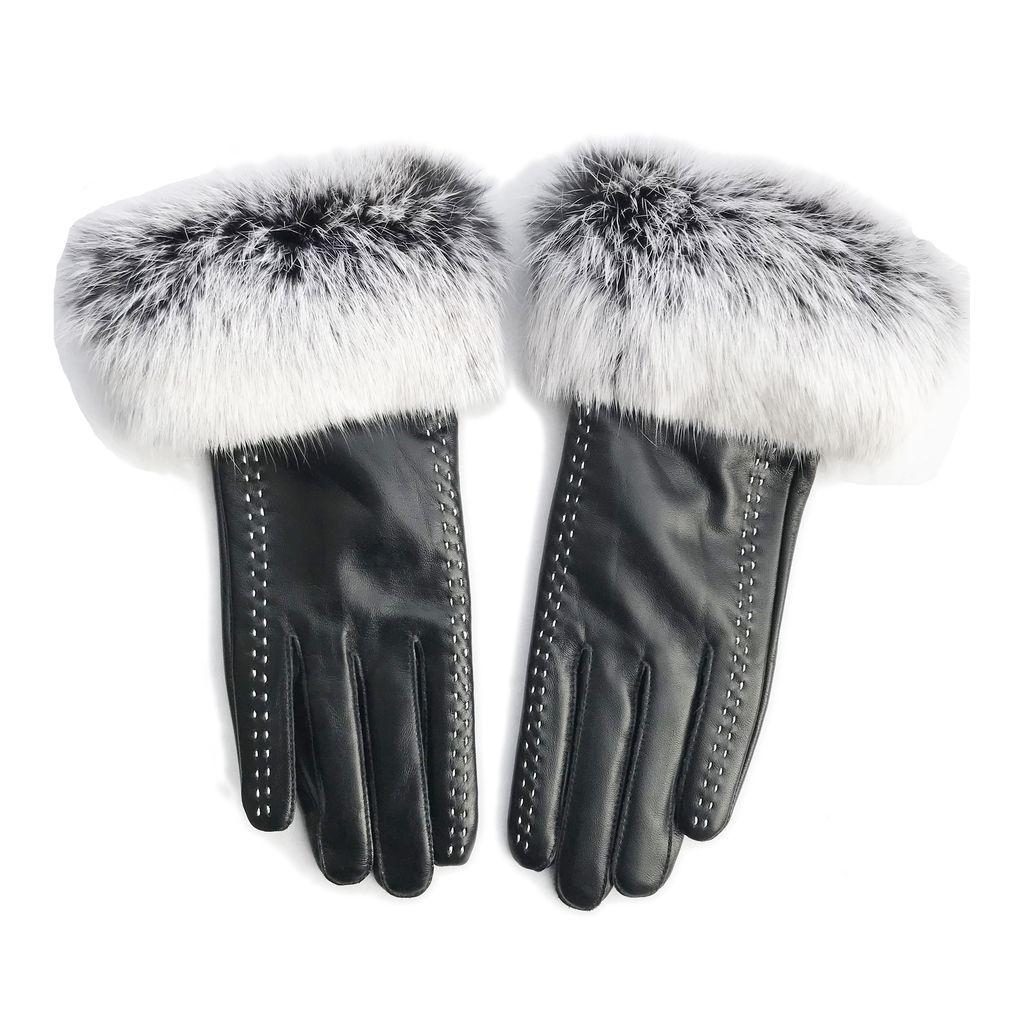 Sugar Bear Rabbit Fur Gloves w Stitching