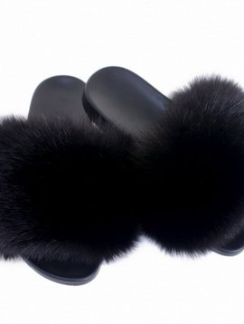Sugar Bear Black Fox Fur Slides