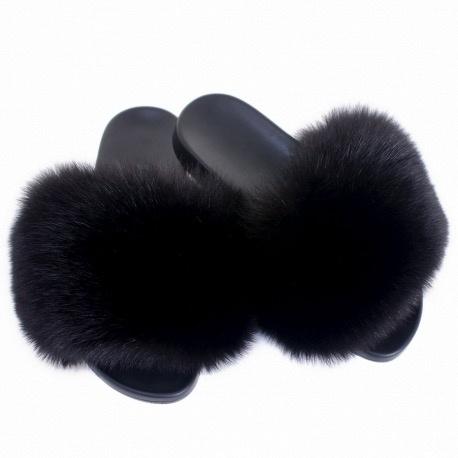 9fd65589e21 Adult Black Fox Fur Slides - Pumpkin and Bean
